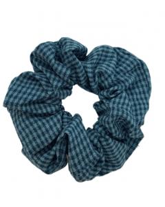 JA•NI Hair Accessories - Hair Scrunchies, The Blue Thin Checkered